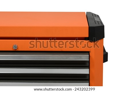 close-up on tool cabinets on white background - stock photo