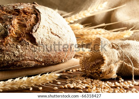 Close-up on traditional bread. Shallow DOF - stock photo