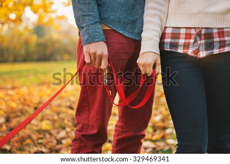 Close up on two hands of romantic couple holding dogs lead outside in autumn day - stock photo