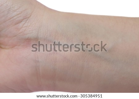 close-up on veins in the wrist - stock photo