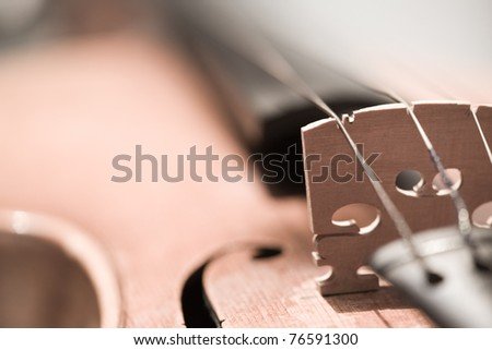 Close-up on violin (Desaturated) - stock photo