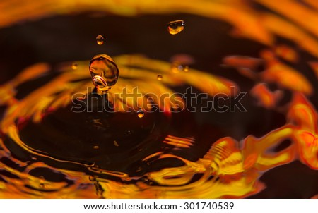 Close up on water drop with water wave (Lava) - stock photo