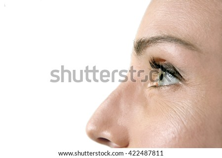 Close-up on woman's eye looking away - stock photo