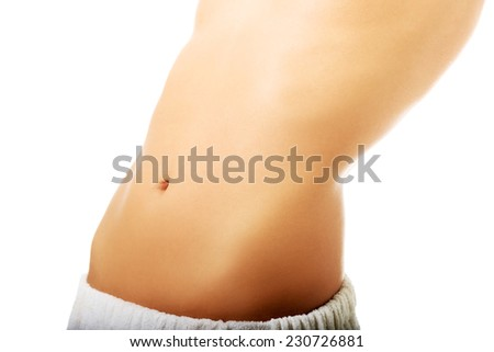 Close up on woman slim belly.