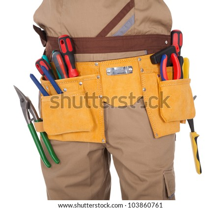 Close-up on worker's toolbelt. Isolated on white - stock photo