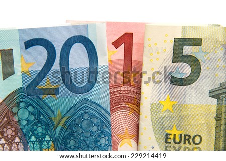 CLose up on 2015 written with euros bank notes  - stock photo
