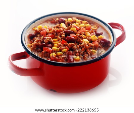 Close up One Full Red Pot of Appetizing Healthy Meaty Main Dish Isolated on White Background. - stock photo