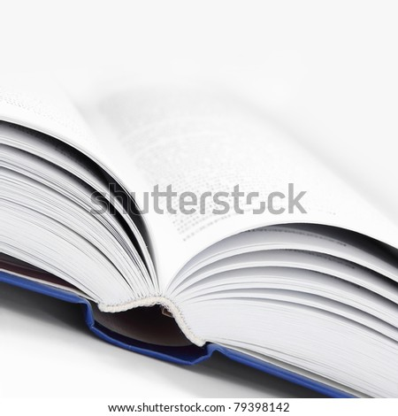 Close Up Open Book in White and Blue Square