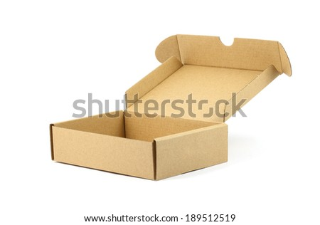 close up opened brown box with white background - stock photo