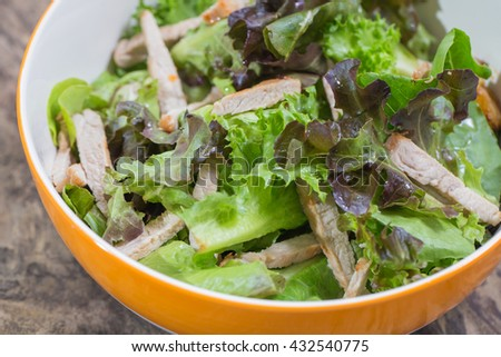 Close up Organic vegetable salad and roasted pork - stock photo