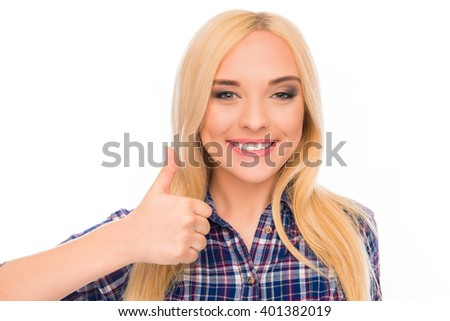 "Close up ortrait of attractive cheerful girl gesturing ""LIKE"" - stock photo"