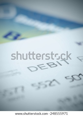 Close up part of debit card for background about finance and account