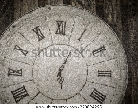 close up part of vintage clock in lather texture background - stock photo