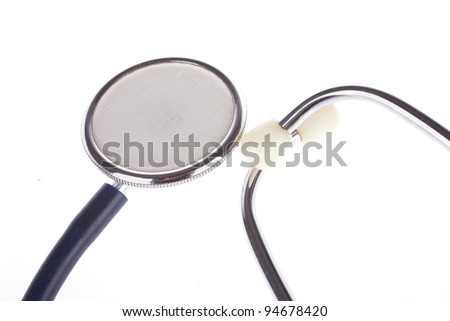 Close-up parts of stethoscope isolated under the white background
