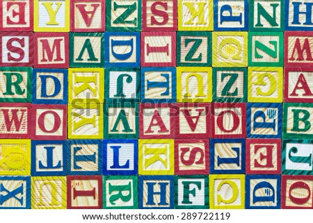 Close up pattern of colorful alphabet blocks, Texture and background