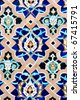 close up pattern of eastern, arabic ceramic, porcelain mosaic - stock photo