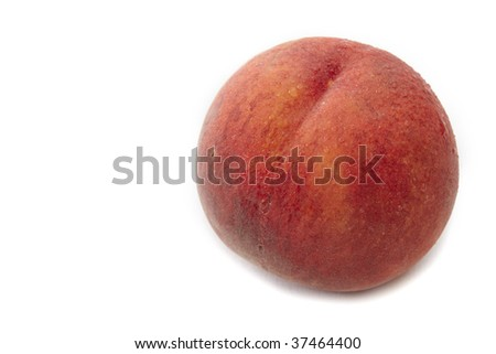 Close up peach isolated on white with copy space