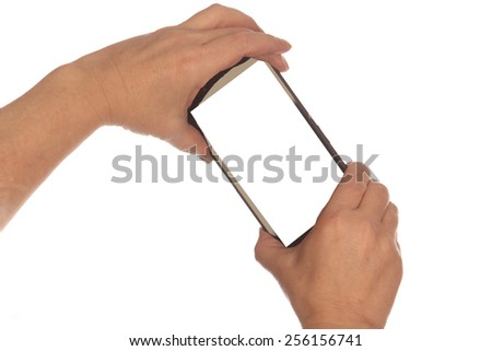 close-up phone in male hand on white background studio