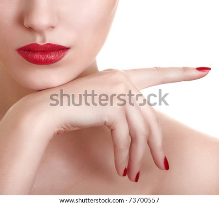 Close-up photo of a beautiful red female lips - stock photo