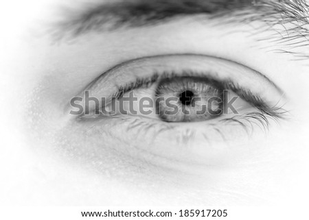 Close up photo of a beautiful young man's eyes