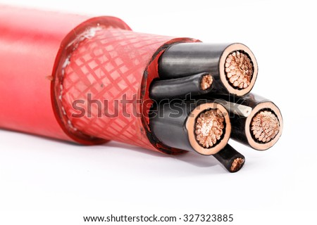 Close up photo of a high voltage cable isolated on white background