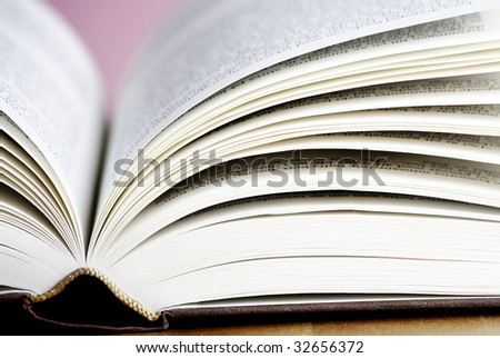Close up photo of a open book - stock photo