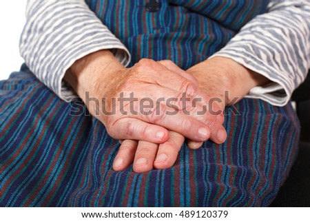 Close up photo of a senior woman's hands