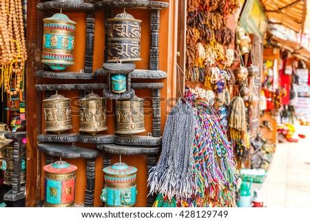Close up photo of a souvenir shop in Kathmandu  - stock photo