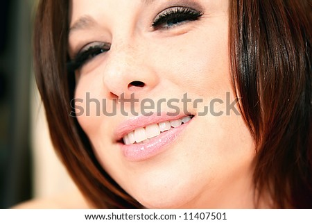 close up photo of a very pretty woman - stock photo