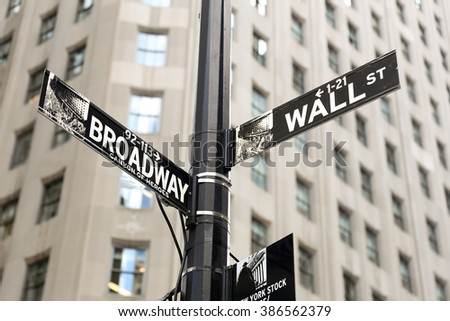 Close-up photo of a Wall Street Sign in Wall Street, Manhattan, USA - stock photo