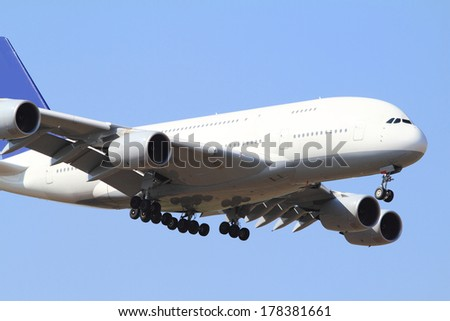 Close up photo of a white passenger air  - stock photo