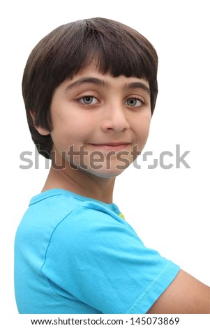 Close-up photo of an 8 year old boy with brown hair isolated on a white background
