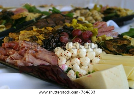 Close-up photo of antipasto tray on a buffet.