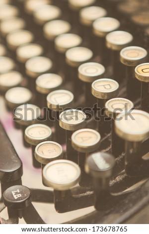 Close up photo of antique typewriter keys - stock photo
