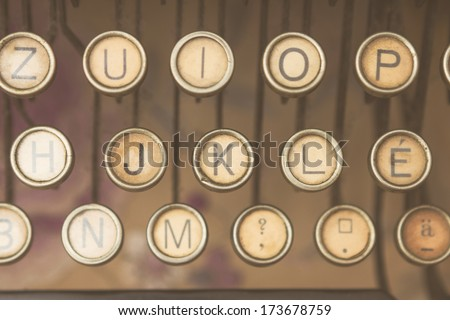 Close up photo of antique typewriter keys, Hungarian characters - stock photo