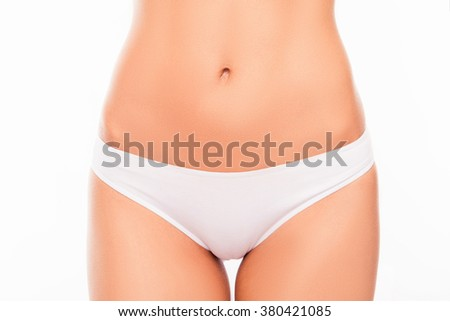 Close-up photo of attractive white women's panties - stock photo