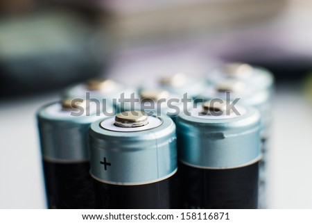 close up photo of batteries group - stock photo