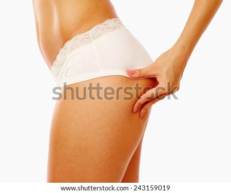 Close up photo of body of young fit female, isolated on white - stock photo