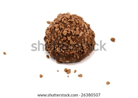 close-up photo of chocolate candy isolated on white - stock photo