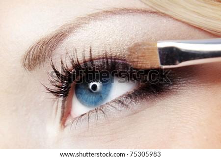Close up photo of fashion eye makeup - stock photo