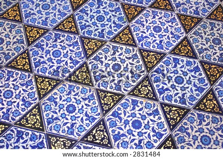 Close up photo of handmade Turkish tiles, in Topkapi Palace, Istanbul, Turkey - stock photo