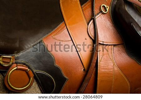 Close up photo of leather saddle - stock photo