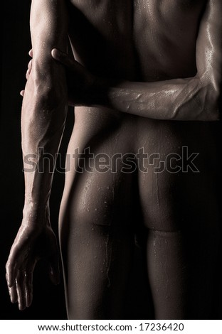 Close-up photo of male buttocks - stock photo