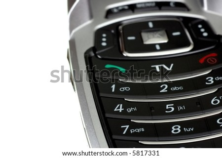 Close-up photo of mobile TV phone keyboard