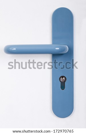 Close-up Photo Of Modern Blue Door Handle
