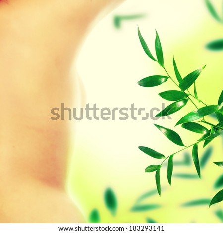 Close up photo of nude body of young fit female - stock photo