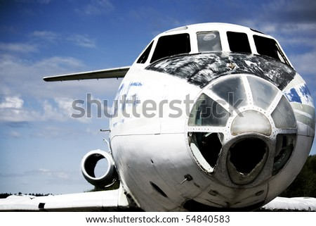close up photo of old broken airplane - stock photo