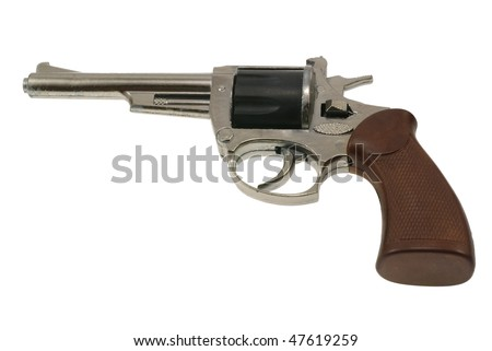 close-up photo of old handgun revolver toy - stock photo