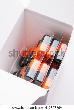 Close-up photo of pills in blister. - stock photo