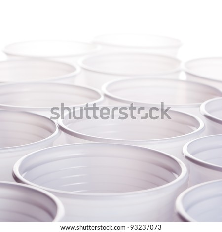 close up photo of plastic cups - stock photo